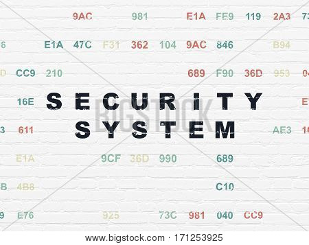 Security concept: Painted black text Security System on White Brick wall background with Hexadecimal Code