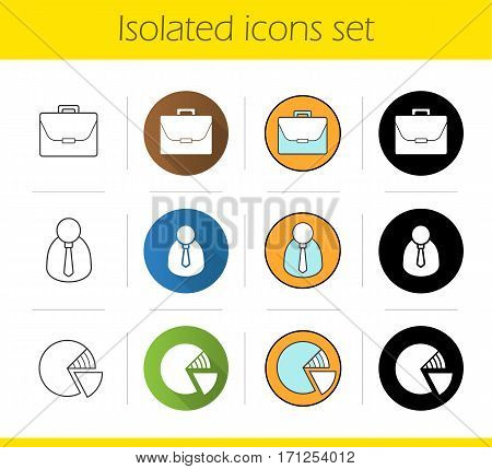 Business icons set. Flat design, linear, black and color styles. Financial analyst, briefcase, marketing diagram. Isolated vector illustrations