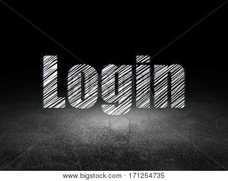 Protection concept: Glowing text Login in grunge dark room with Dirty Floor, black background