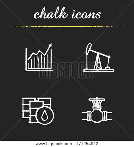 Oil industry chalk icons set. Price growth diagram, oil rig and barrels, gas pipe valve. Isolated vector chalkboard illustrations