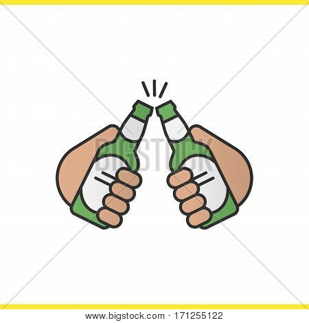 Toasting beer bottles color icon. Cheers. Hands holding beer bottles. Isolated vector illustration