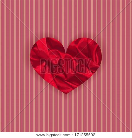 Single Vibrant Satin Heart on the Striped Retro Background. Template for Valentine Day Cards and Prints. Vector EPS 10