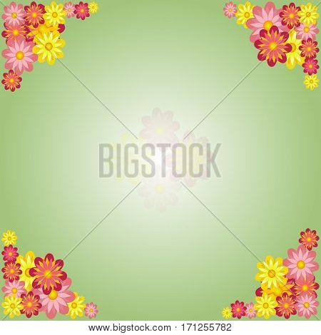 Green Spring Background with Flowers Frame in the Corners