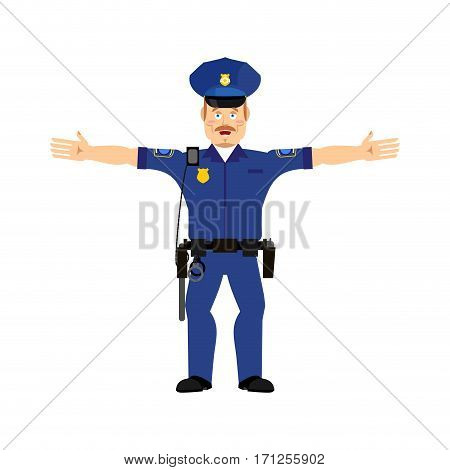 Police Officer Happy Emoji Isolated. Policeman Merry Emotion