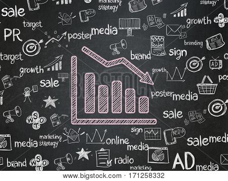 Advertising concept: Chalk Pink Decline Graph icon on School board background with  Hand Drawn Marketing Icons, School Board