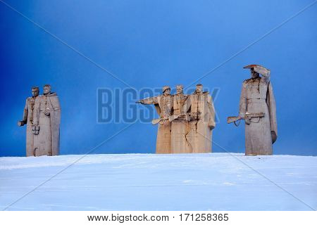 28 panfilov heroes memorial near village Nelidovo Volokolamsk district Moscow region. Built in 1975 named after Panfilov's division act of bravery in WWII. Winter view.