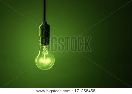 light bulb on green background close up