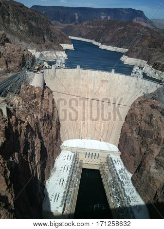 Hoover Dam on the border between the U.S. states of Nevada and Arizona