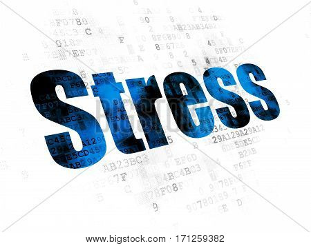 Healthcare concept: Pixelated blue text Stress on Digital background