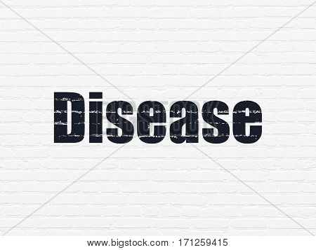 Healthcare concept: Painted black text Disease on White Brick wall background