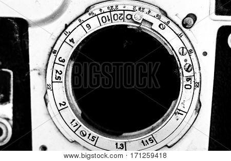 image of details of an old vintage film camera
