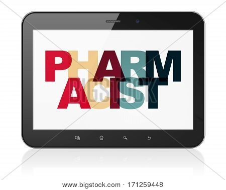 Healthcare concept: Tablet Computer with Painted multicolor text Pharmacist on display, 3D rendering