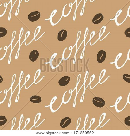 Coffee pattern. Hand drawn seamless texture with coffee beans and lettering. Can be used for wallpaper wrapping textile design etc. Vector eps8 illustration.
