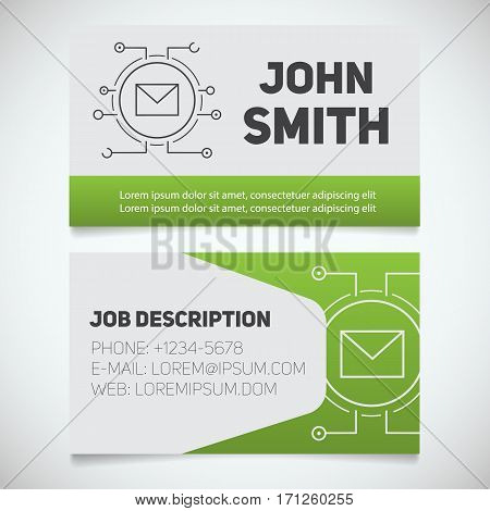 Business card print template with letter logo. Easy edit. Manager. System administrator. Email security. Stationery design concept. Vector illustration