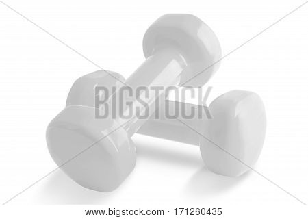 Two of white dumbbells Isolated on white background.