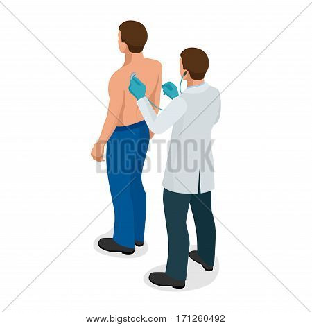 Male doctor examining a patient with stethoscope at hospital. Isometric vector illustration for medicine or healthcare design