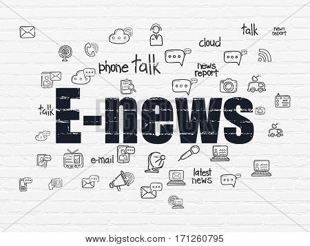 News concept: Painted black text E-news on White Brick wall background with  Hand Drawn News Icons