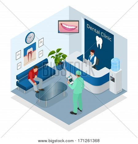 Isometric Modern dental practice. Dental chair and other accessories used by dentists in blue, medic, reception, detail dental panoramic radiograph equipment. Flat vector concept.