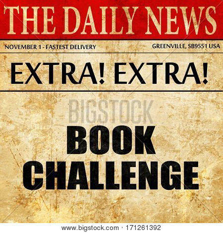 book challenge, article text in newspaper