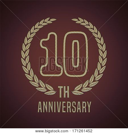 10 years anniversary vector icon, logo. Graphic design element with golden decorative branch for 10th anniversary card