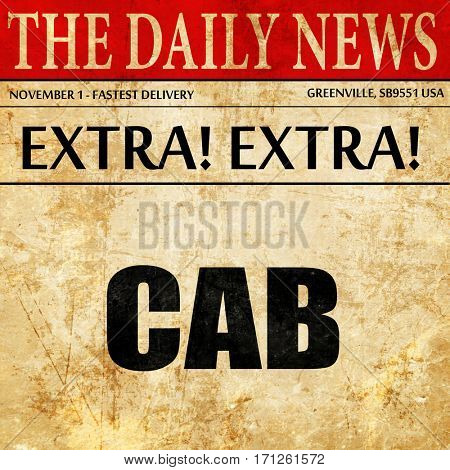 cab, article text in newspaper