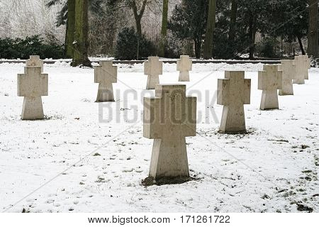 Crosses for unknown soldiers in a cemetery in Magdeburg