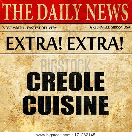 creole cuisine, article text in newspaper