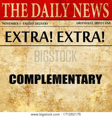 complementary, article text in newspaper