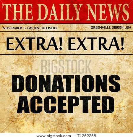 donations accepted, article text in newspaper