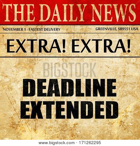 deadline extended, article text in newspaper