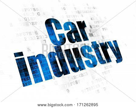 Industry concept: Pixelated blue text Car Industry on Digital background