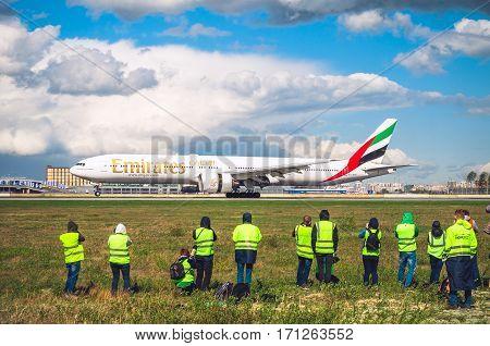 Boeing 777 Emirates airlines, airport Pulkovo, Russia Saint-Petersburg 11 May 2016