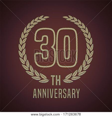 30 years anniversary vector icon, logo. Graphic design element with golden decorative branch for 30th anniversary card