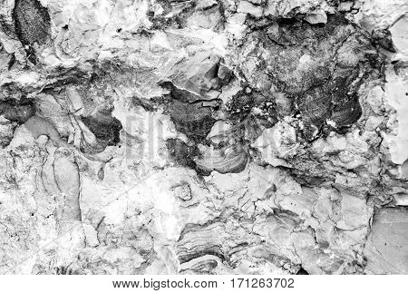 Sandstone cross section texture. Black and white background