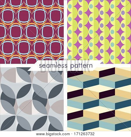 Set of four vector seamless geometrical patterns. Vintage textures. Decorative background for cards invitations web design. Retro digital paper.