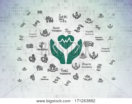 Insurance concept: Painted green Heart And Palm icon on Digital Data Paper background with  Hand Drawn Insurance Icons