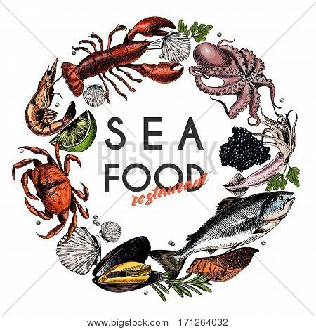 Vector hand drawn seafood banner.colored Lobster salmon crab shrimp ocotpus squid clams.Engraved art in round border composition.Delicious menu objects. restaurant promotion market store flyer