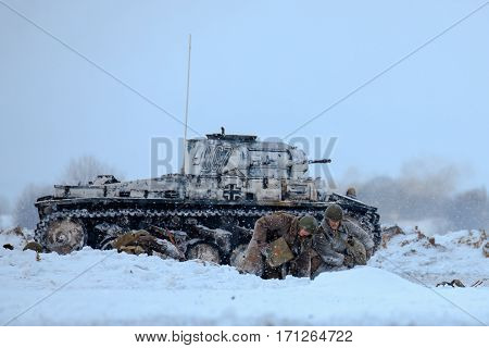 NELIDOVO MOSCOW REGION RUSSIA - JANUARY 22 2017: Reenactment of the winter defensive battles of the Red Army of the 1st Ukrainian Front in WWII called