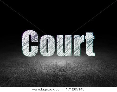 Law concept: Glowing text Court in grunge dark room with Dirty Floor, black background