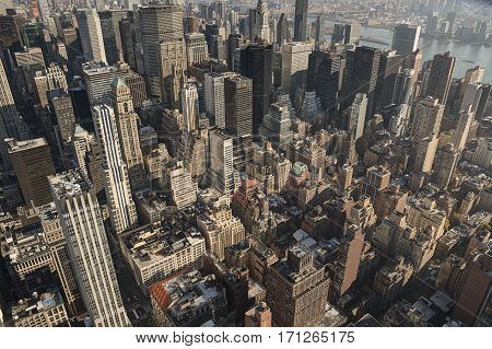 New York city close up on buildings. Aerial view
