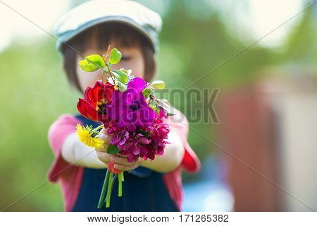 Preschool Child, Holding Bouquet Of Wild Flowers, Gathered For Mom