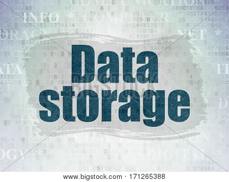 Information concept: Painted blue text Data Storage on Digital Data Paper background with   Tag Cloud