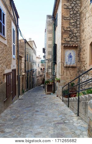 Typical small alley in town Estellencs on Majorca Spain