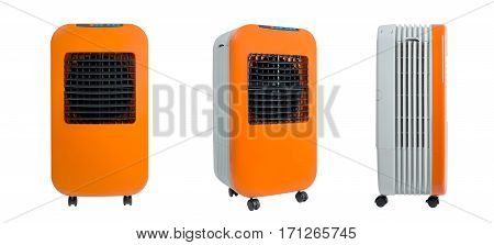 Collection of portable evaporative air cooler window air cooler with ionizer isolated on white background.