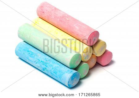 Colorful children's school chalk on a white background