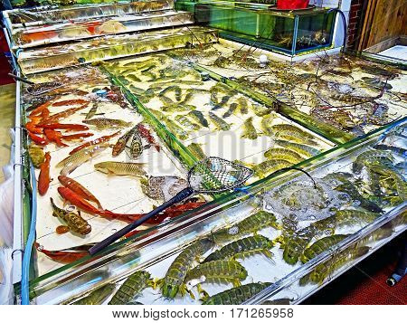 Market stall with seafood in Hong Kong