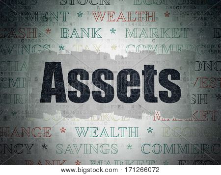 Banking concept: Painted black text Assets on Digital Data Paper background with   Tag Cloud