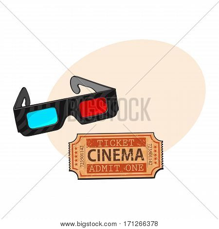 Blue and red stereoscopic, 3d glasses and retro style cinema, movie ticket, sketch vector illustration with place for text. Cinema objects - 3d stereoscopic glasses and cinema ticket