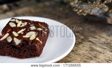 Sweet chocolate brownies cake on the wood table