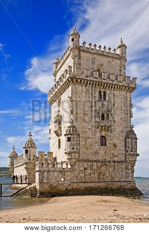 Belem Tower on the Tagus river near Lisbon, Portugal.